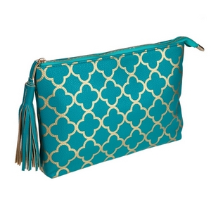 """Turquoise pouch with a printed gold pattern and a tassel zipper pull. Made of faux leather, measures 12"""" x 7.5"""" x 1 and is perfect for monogramming!"""