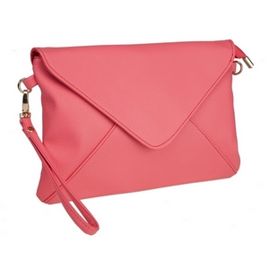 "Coral, faux leather envelope clutch that features removable wrist and crossbody straps, top zipper closure, inside open and zippered compartments and a fold over flap with snap closure. Measures approximately 11"" x 8"" and is perfect for monogramming!"