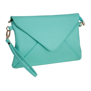 "Mint green, faux leather envelope clutch that features removable wrist and crossbody straps, top zipper closure, inside open and zippered compartments and a fold over flap with snap closure. Measures approximately 11"" x 8"" and is perfect for monogramming!"