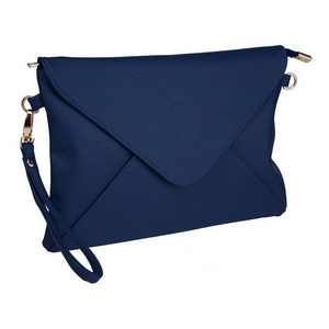 "Navy blue, faux leather envelope clutch that features removable wrist and crossbody straps, top zipper closure, inside open and zippered compartments and a fold over flap with snap closure. Measures approximately 11"" x 8"" and is perfect for monogramming!"