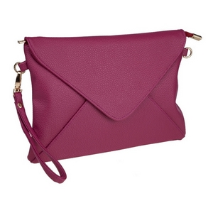 "Plum, faux leather envelope clutch that features removable wrist and crossbody straps, top zipper closure, inside open and zippered compartments and a fold over flap with snap closure. Measures approximately 11"" x 8"" and is perfect for monogramming!"