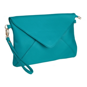 "Turquoise, faux leather envelope clutch that features removable wrist and crossbody straps, top zipper closure, inside open and zippered compartments and a fold over flap with snap closure. Measures approximately 11"" x 8"" and is perfect for monogramming!"