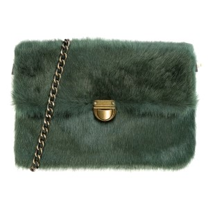 "Faux fur, clutch/handbag with a burnished gold tone buckle and zipper closure, an inside zipper compartment and removable crossbody chain. Bag measures 9"" x 6"" in size."