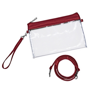 "Clear PVC stadium purse trimmed in your favorite team's color. Measures 9"" x 6"" in size and comes with a wristlet strap and a crossbody strap."