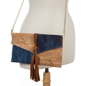 """Envelope, cork and denim clutch bag with faux suede tassels and a gold tone shoulder chain. Measures 11"""" x 6"""" in size."""