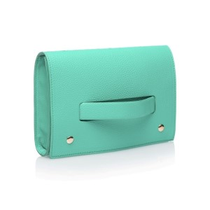 """This hand clutch is the perfect sleek and elegant accessory for a night out on the town or a date with your man. It features a unique fold over closure that allows you to securely hold the clutch through the front strap. Front strap offers a ideal place to add your own personalization.  • Measures 9.5"""" x 6"""" x 2"""" • Includes Hand Strap • Hand wipe clean"""