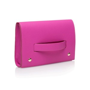 "This hand clutch is the perfect sleek and elegant accessory for a night out on the town or a date with your man. It features a unique fold over closure that allows you to securely hold the clutch through the front strap. Front strap offers a ideal place to add your own personalization.  • Measures 9.5"" x 6"" x 2"" • Includes Hand Strap • Hand wipe clean"