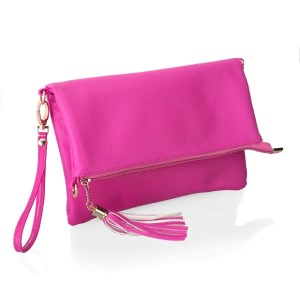 """A staple for any sophisticated fashionista! Wear this colorful foldover faux leather clutch with anything! Perfect for a night out or a quick trip to the store.  • Measures 10"""" x 6.75"""" when folded, and 10"""" x 12"""" when open • Includes Wrislet and Crossbody Straps • Hand wipe clean"""