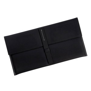 "Faux leather envelope clutch with a loop latch closure. Measures 12.5"" x 6.5"" in size."