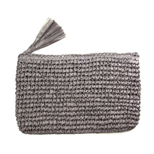 "Woven straw clutch with a tassel, zipper closure. Measures 11"" x 7"" in size. 100% paper."