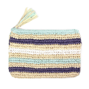 "Woven straw clutch with a tassel, zipper closure and a striped print. Measures 11"" x 7"" in size. 100% paper."