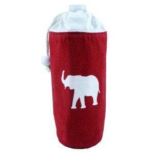"""Insulated canvas drink/bottle holder with drawstring featuring an elephant design. Approximately 4"""" in diameter and x 8"""" tall."""