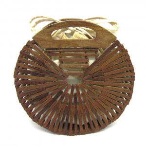 "Brown modern style wooden handbag with cloth-lined interior. Approximately 9.5"" in diameter."