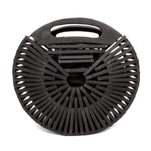 """Black modern style wooden handbag with cloth-lined interior. Approximately 9.5"""" in diameter."""