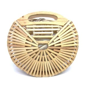 """Ivory modern style wooden handbag with cloth-lined interior. Approximately 9.5"""" in diameter."""