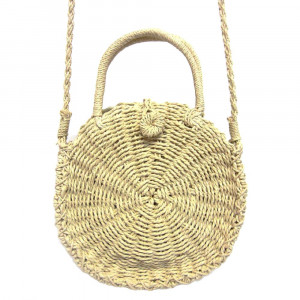 """Ivory shade woven raffia handbag with short handle and long shoulder strap. Cloth-lined interior. Approximately 9.5"""" in diameter"""