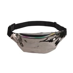 Holographic fanny pack with two zipper pouches.