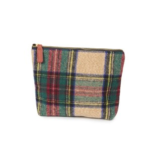 """Tartan plaid pouch with zipper closure.   - Approximately 9"""" W x 7"""" H - 100% Acrylic"""