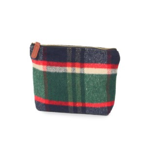 """Plaid pouch with zipper closure.   -Approximately 9"""" W x 7"""" H - 100% Acrylic"""