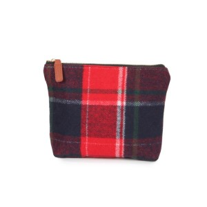 """Plaid pouch with zipper closure.  - Approximately 9"""" W x 7"""" H - 100% Acrylic"""