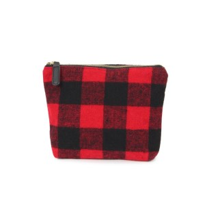 """Buffalo check pouch with zipper closure.   - Approximately 9"""" W x 7"""" H - 100% Acrylic"""