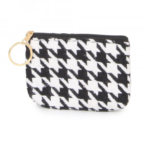 "Houndstooth coin purse. 100% acrylic and 5""W x 3""L"
