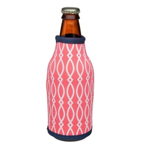 Neoprene bottle coozie with a hot pink and white pattern and a navy blue trim. Perfect for monogramming!