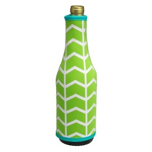 Neoprene insulated lime green, white and turquoise wine bottle coozie that keeps your wine bottle chilled. Fits standard wine bottles and is machine washable. Perfect for monogramming!