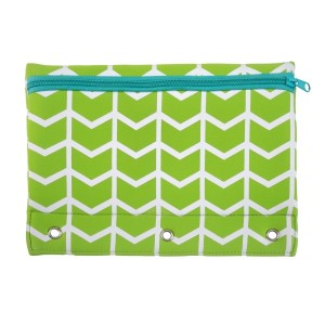 Our pencil pouch fits a standard three ring binder. Features zipper closure for easy and secure access. Machine washable and water resistant. Perfect for embroidery. Measures 7.5x10.25.