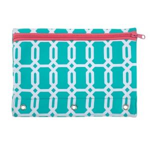 "Neoprene pencil pouch fits a standard three ring binder and features a zipper closure for easy and secure access. Machine washable and water resistant. Perfect for monogramming. Measures 7.5"" x 10.25"""