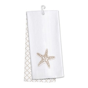 Starfish kitchen dish towel made of 100% cotton that is super absorbent and machine washable. Towel measures 25 x 19 when open.