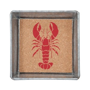 "Metal trinket tray lined with cork featuring a red lobster. Measures 6"" x 6"""