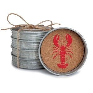 "Set of four metal coasters lined with cork and featuring a lobster. Measures 4"" in diameter."