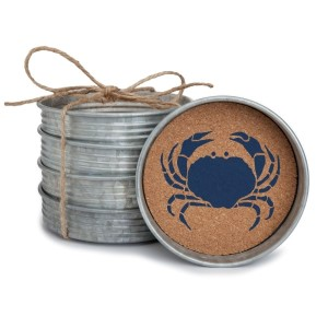 "Set of four metal coasters lined with cork and featuring a crab. Measures 4"" in diameter."
