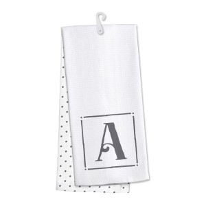 "Monogram ""A"" kitchen dish towel made of 100% cotton that's super absorbent and machine washable. Towel measures 25 x 19 when open."