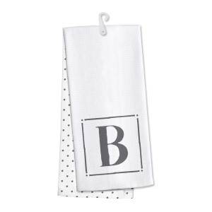 "Monogram ""B"" kitchen dish towel made of 100% cotton that's super absorbent and machine washable. Towel measures 25 x 19 when open."
