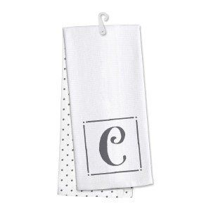 "Monogram ""C"" kitchen dish towel made of 100% cotton that's super absorbent and machine washable. Towel measures 25 x 19 when open."