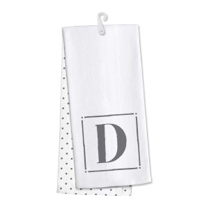 "Monogram ""D"" kitchen dish towel made of 100% cotton that's super absorbent and machine washable. Towel measures 25 x 19 when open."