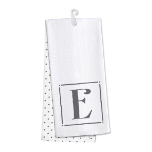 "Monogram ""E"" kitchen dish towel made of 100% cotton that's super absorbent and machine washable. Towel measures 25 x 19 when open."