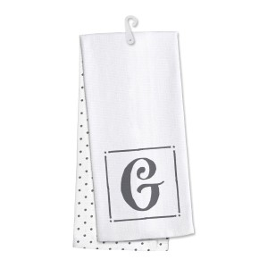 "Monogram ""G"" kitchen dish towel made of 100% cotton that's super absorbent and machine washable. Towel measures 25 x 19 when open."
