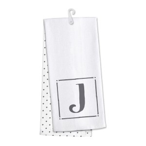 "Monogram ""J"" kitchen dish towel made of 100% cotton that's super absorbent and machine washable. Towel measures 25 x 19 when open."