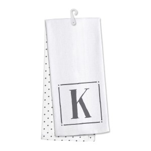 "Monogram ""K"" kitchen dish towel made of 100% cotton that's super absorbent and machine washable. Towel measures 25 x 19 when open."