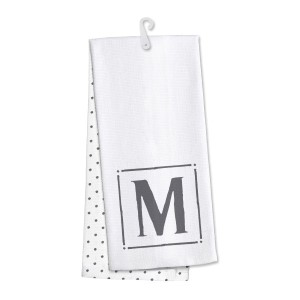"Monogram ""M"" kitchen dish towel made of 100% cotton that's super absorbent and machine washable. Towel measures 25 x 19 when open."