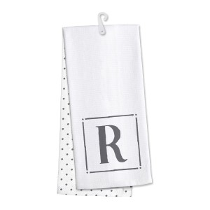 "Monogram ""R"" kitchen dish towel made of 100% cotton that's super absorbent and machine washable. Towel measures 25 x 19 when open."