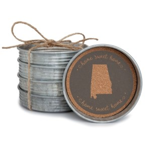 "Set of four ""Home Sweet Home"" Alabama metal coasters. Measures 4"" wide and lined with cork."