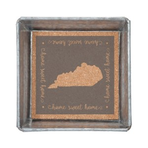 """Home Sweet Home"" Kentucky metal trinket tray  lined with cork. Measures 6"" x 6"""