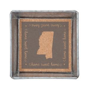 """Home Sweet Home"" Mississippi metal trinket tray lined with cork. Measures 6"" x 6"""
