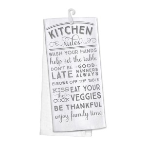"""Kitchen Rules"" kitchen dish towel made of 100% cotton that's super absorbent and machine washable. Towel measures 25 x 19 when open."