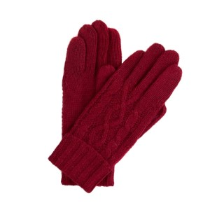 Crimson cable knit gloves.