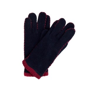 Navy and red stitched gloves.